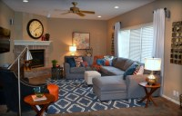 Casual Orange, Blue and Gray Family Room