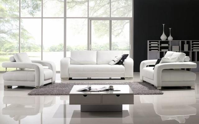 Crystal Leather 3 Piece Sofa Set Modern Living Room Calgary Part 94