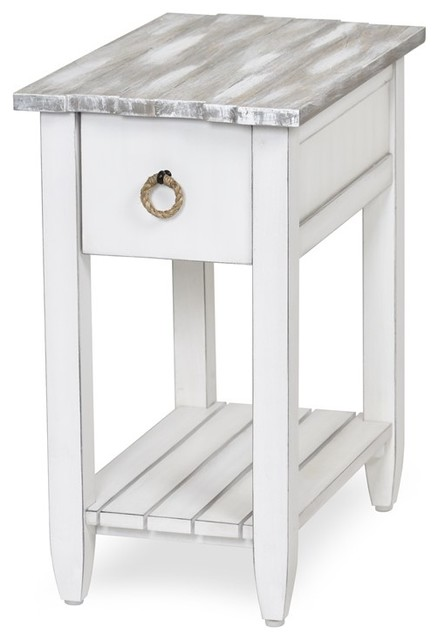 picket fence chairside table distressed gray white