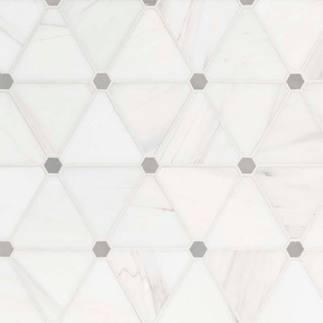 samole of bianco dolomite pinwheel polished backsplash mosaic