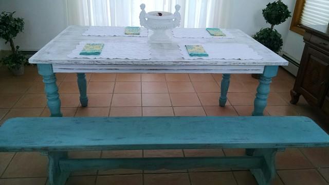 Coastal LivingFarmhouse Dining Table Bench Beach Style