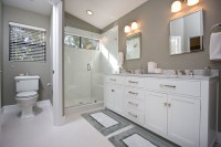 Contemporary Gray & White Bathroom Remodel - Contemporary ...