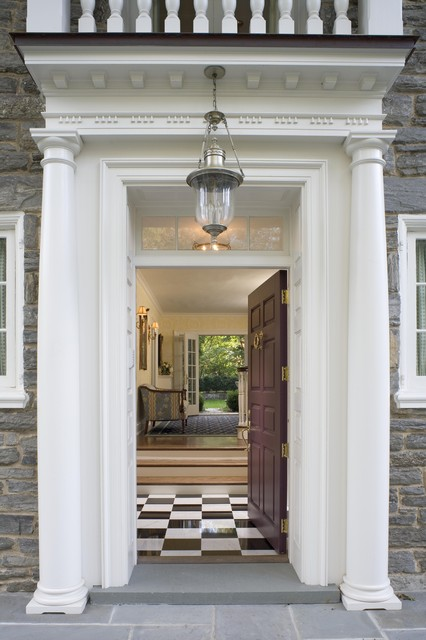 mahogany side tables living room leather suites front door portico - traditional entry philadelphia ...