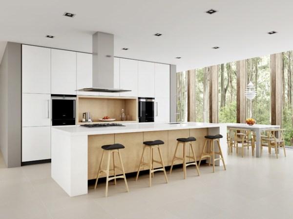 scandinavian white kitchen White Minimalist - Scandinavian - Kitchen - Sydney - by Dan Kitchens Australia