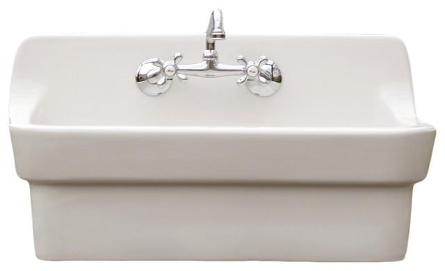 white vintage style high back farm sink american standard apron utility sink