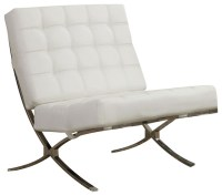 X-Style Waffle Accent Chair, Chrome Legs and White Faux ...