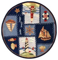 Blue Wool Nautical Rug (5 ft. 6 in. Round) - Traditional ...