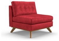 Hopson Leather Armless Chair - Brighton Parrot Red ...
