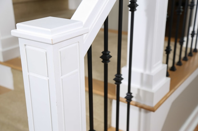 Custom Staircase Newel Post And Wrought Iron Balusters Craftsman | Installing Newel Post And Spindles | Stair Treads | Stair Railings | Stair Banister | Box Newel | Staircase