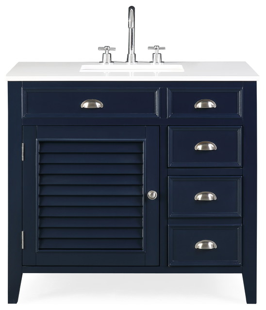 Zapata Navy Blue Bath Vanity Quartz Top 36 Transitional Bathroom Vanities And Sink Consoles By Chans Furniture