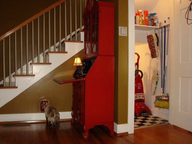 farmhouse chairs dressing room hidden cat retreat - traditional staircase louisville