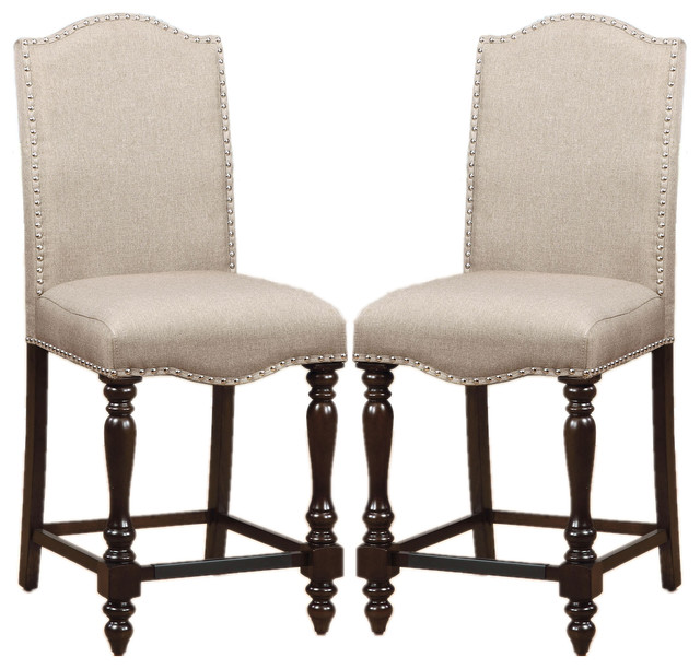 upholstered chair with nailhead trim and a half recliner canada counter height dining chairs linen like set of 2 traditional bar stools by flatfair