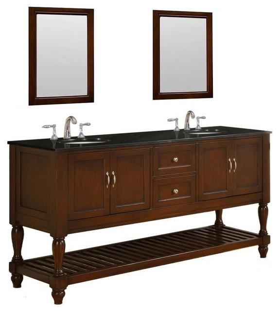 Mission Turnleg 70 Dark Brown Vanity Black Granite Top Traditional Bathroom Vanities And Sink Consoles By Direct Vanity Sink