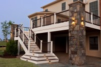 Composite deck and staircase with stone pillar ...