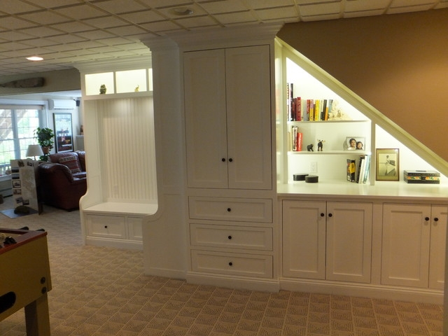 Under Stairs Cabinet American Traditional Basement | Wardrobe Design Under Stairs | Hallway Storage | Basement Stairs | Stair Case | Living Room | Shoe