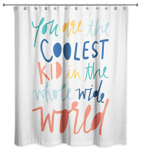 coolest kid rainbow text 71x74 shower curtain
