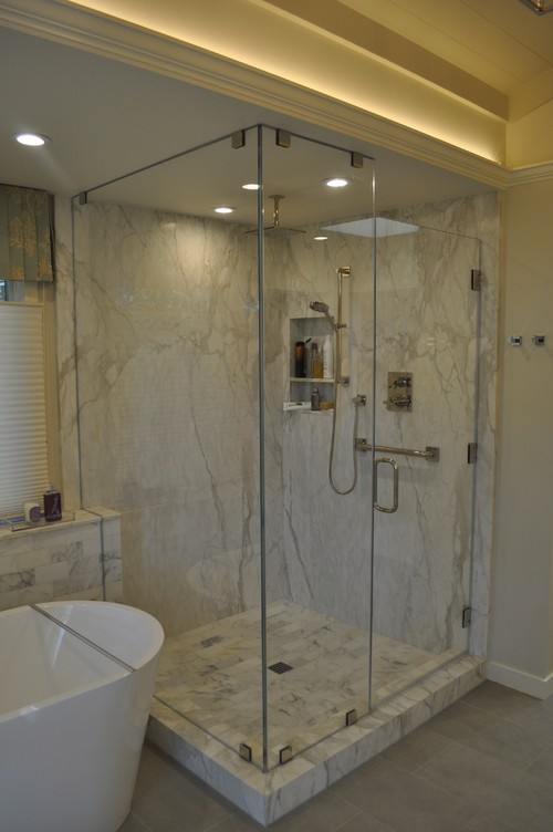 How thick are the marble shower walls