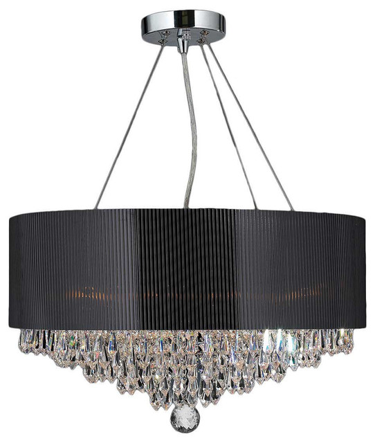 8 Light Chrome Crystal Ball Prism Chandelier Black Acrylic Drum Shade Chandeliers