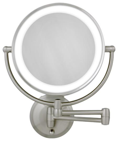 10X1X Satin Nickel Round LED Lighted Wall Mirror  Modern