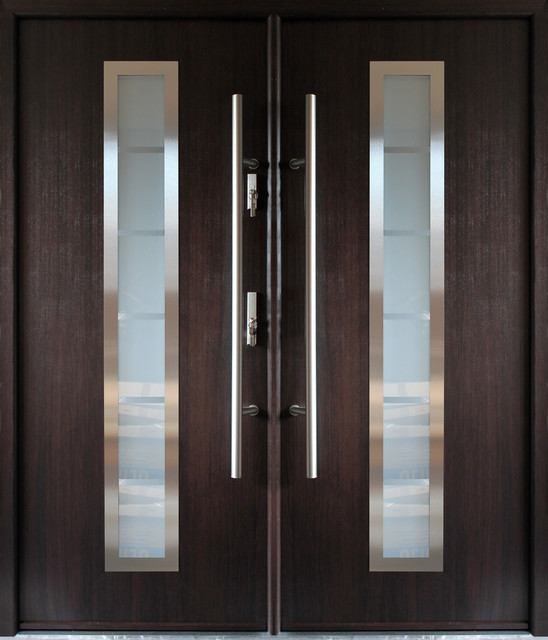 Stainless Steel Modern Entry Double Door Wenge Finish Contemporary Front Doors By Ville Doors