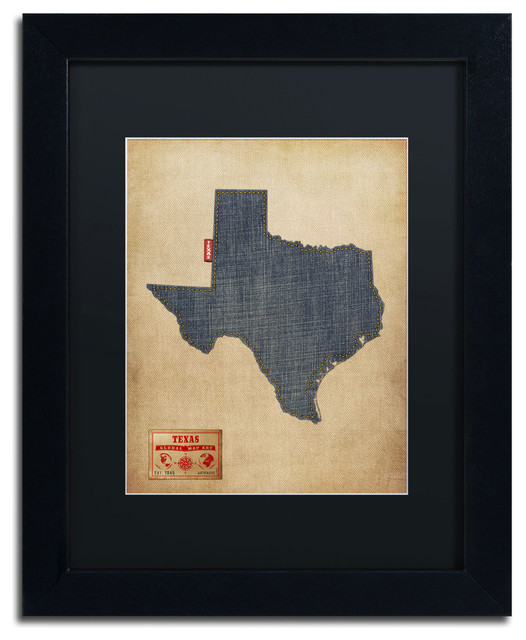 Framed Texas Map : framed, texas, Texas, Denim, Jeans, Style', Matted, Framed, Canvas, Michael, Tompsett, Contemporary, Prints, Posters, Trademark, Global