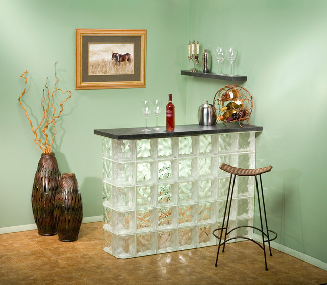Ideas For Glass Blocks Modern Home Bar Chicago By