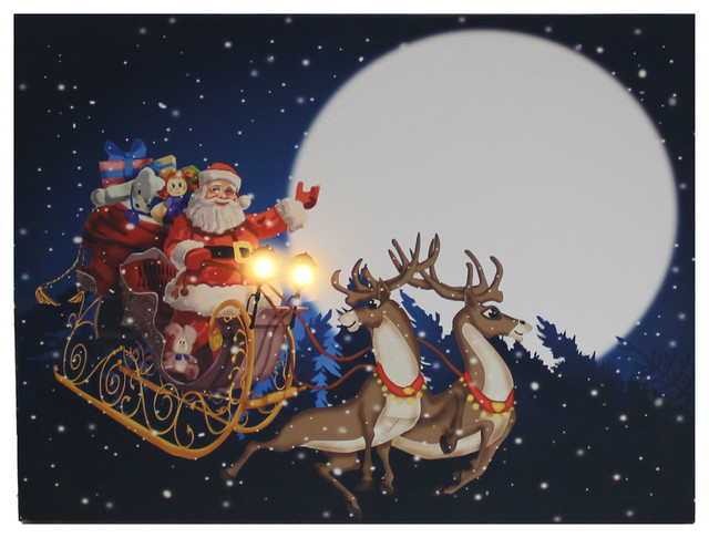 Light Up Santa In Sleigh Wall Decoration Traditional