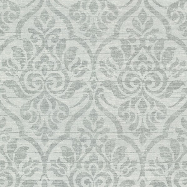 Malia Sage Heirloom Damask Wallpaper Contemporary