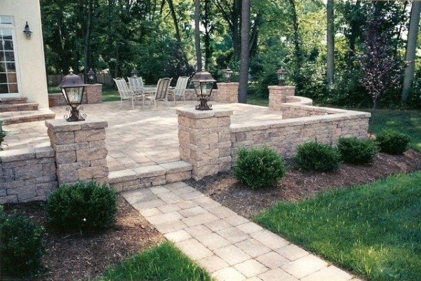 raised patio with walkway sitting