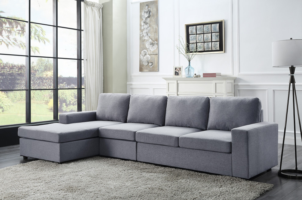 dunlin light gray linen reversible modular sectional sofa chaise