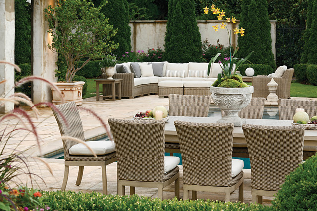 Outdoor Sectional Sofa And Patio Dining Set In Resin
