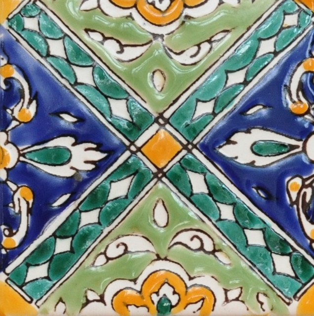 med collection dominique hand painted ceramic tile 4 x4
