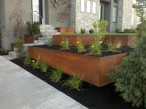 natural rust finish steel planter