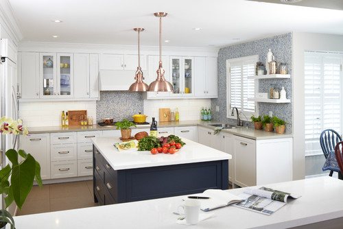 White kitchen with navy blue island -- put it on my list of favorites!