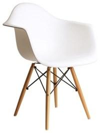 DAW Plastic Dining Armchair With Wood Eiffel Legs ...