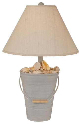 Bucket of Shells Table Lamp in Cottage Seaside Villa