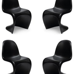 Vernon Panton Chair Office Arms Too Wide Set Of 4 Style Designer Black Plastic S - Modern Dining Chairs By Emodern Decor
