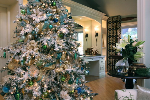 White Flocked Christmas Tree with Shades of Blue