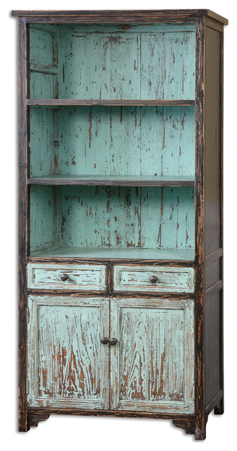 Reclaimed Wood Bookcase With Cabinets and 3 Shelves