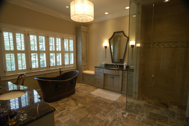 Highend master bathroom with Copper Tub Curbless Shower Linear Drain  More  Traditional