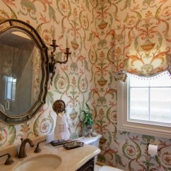 Antique Accent Chairs Eco Posture Chair Guest Bathroom With Arabesque Wallpaper - Traditional New Orleans By Nelson ...