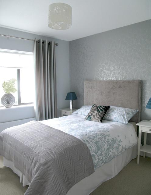 silver grey guest bedroom