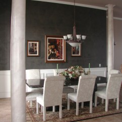 Kitchen Ceiling Paint Granite Counter Tops Black Plaster Accent Wall Dining Room