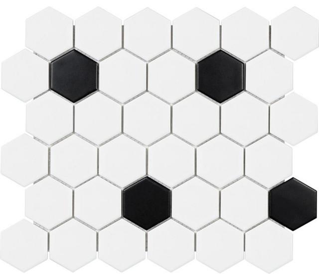 2 inch black and white glazed porcelain hexagon mosaic tiles 10 sq ft box