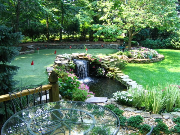 waterfall pond with putting green