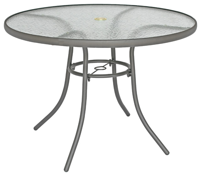 rio brands 40 inch sienna round patio table with tempered glass top gray