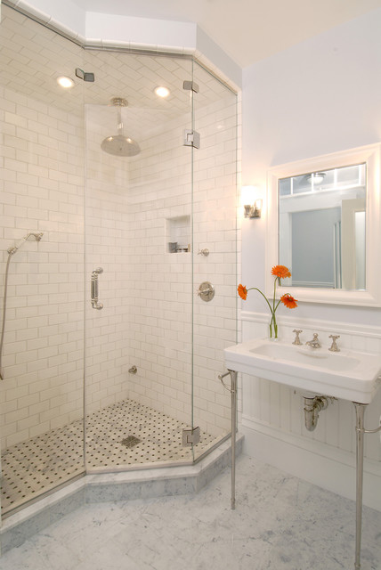 Greek Revival Bath with Transom Windows  Traditional
