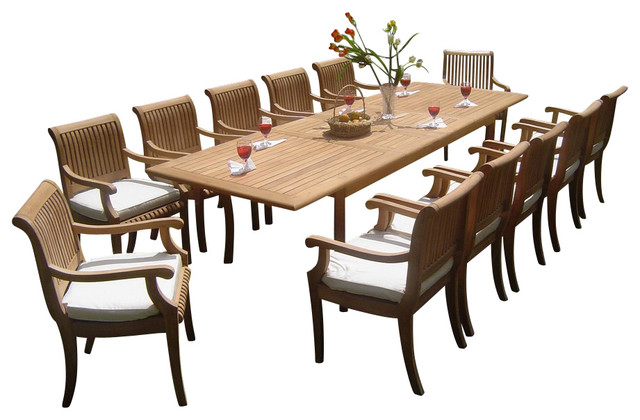 "13-Piece Outdoor Teak Dining Set, 117"" Rectangle Table, 12"