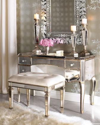 "claudia"" mirrored vanity/desk & vanity seat - traditional"