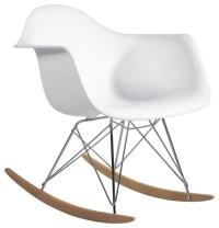 Molded Plastic Armchair Rocker in White - Midcentury ...